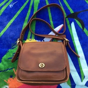 Vtg 1990 Coach Brown Leather Crossbody Bag